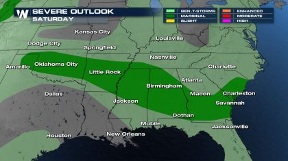 Severe Storms Slide South Saturday