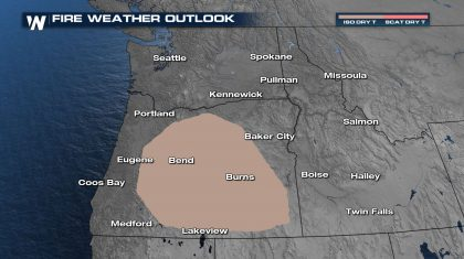 Dry T'storms Risk for Oregon Monday