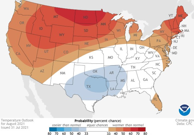 August Outlook: Wet Southeast; Hot and dry for the Northern Plains