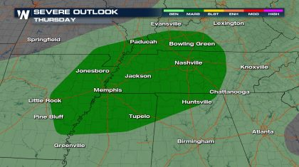 Severe Storms for the Tennessee River Valley Today