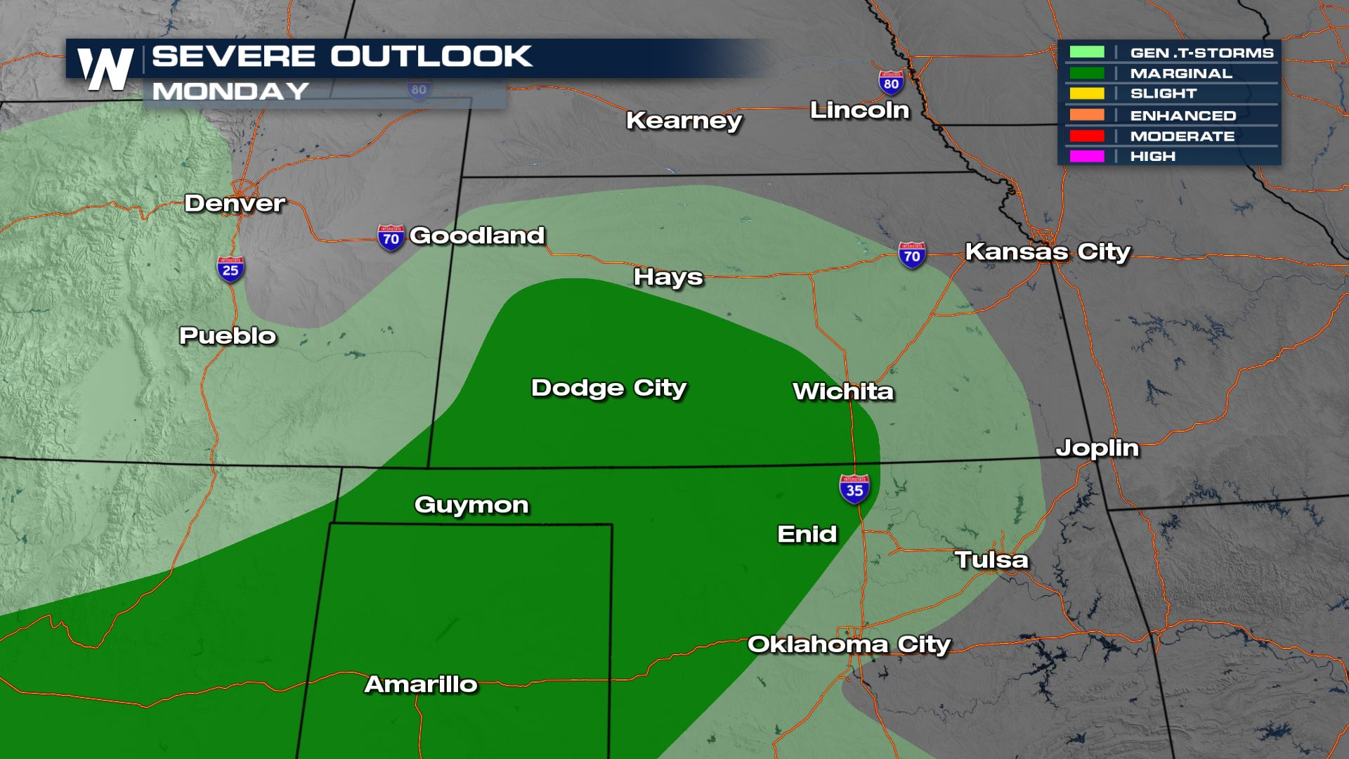 Isolated Severe Risk for the Central Plains Monday