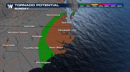 Severe Risk for the Southern Mid-Atlantic Sunday