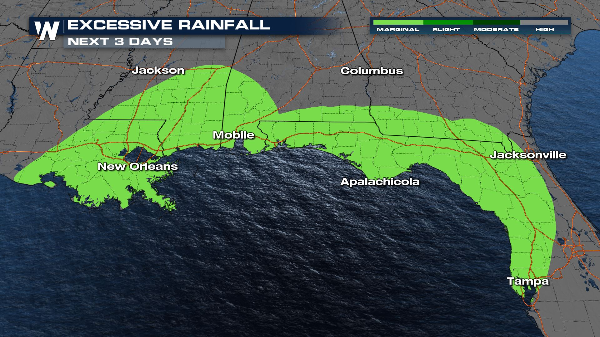 Flooding Threat Shifts South to the Gulf Coast