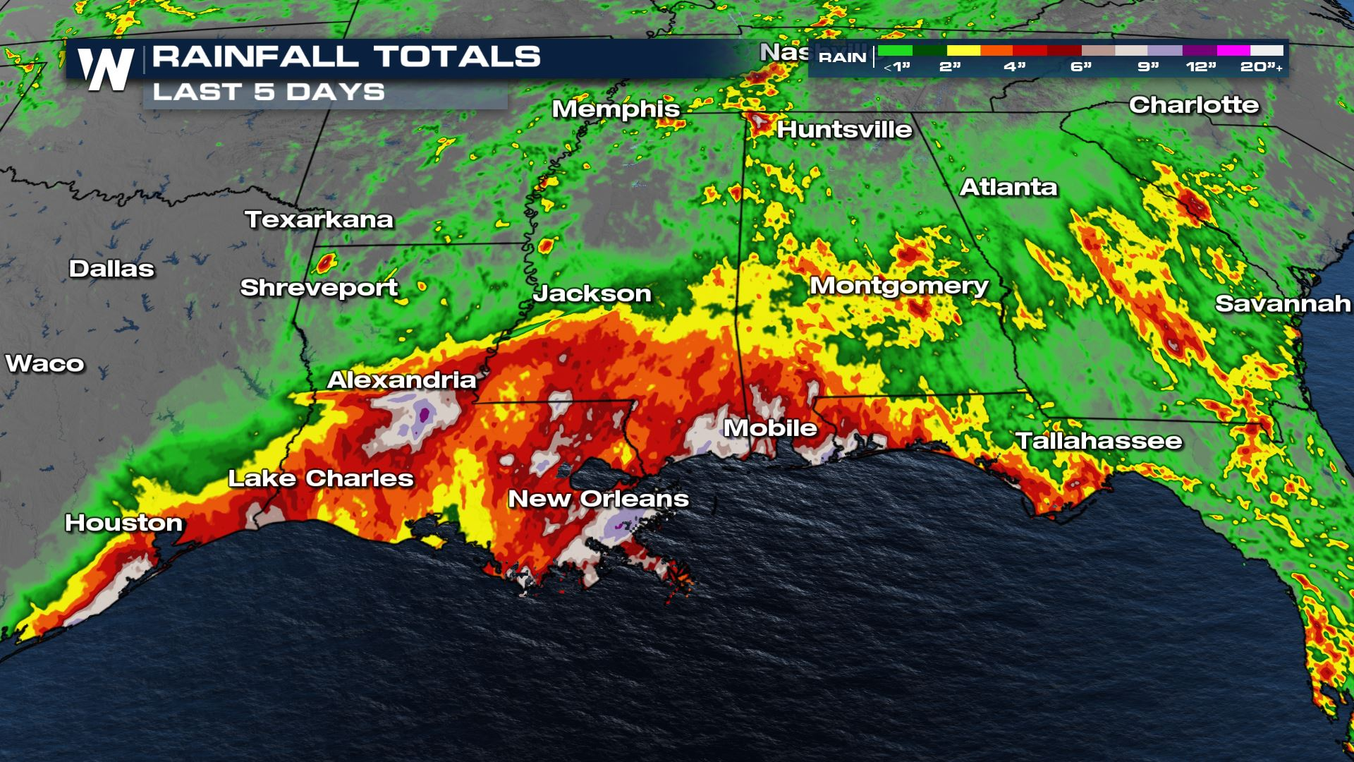 Flood Threat Continues Across the Deep South Through the Weekend