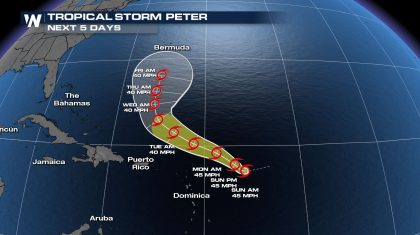 Tropical Storm Peter Formed Early Sunday Morning