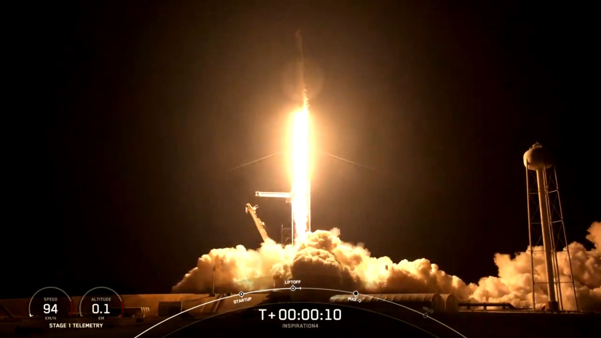 Lift-Off Complete of Historic All-Civilian Spaceflight Mission
