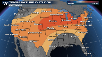 Warmer than Normal October Outlook for Most of the Nation