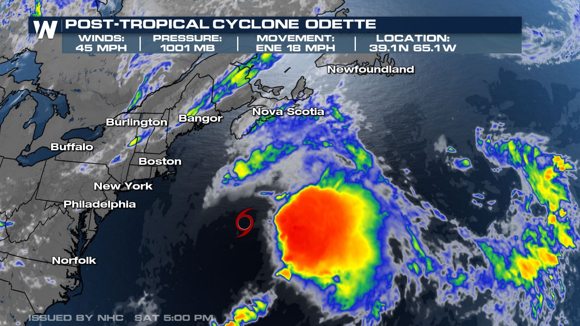 Odette Now a Post-Tropical System