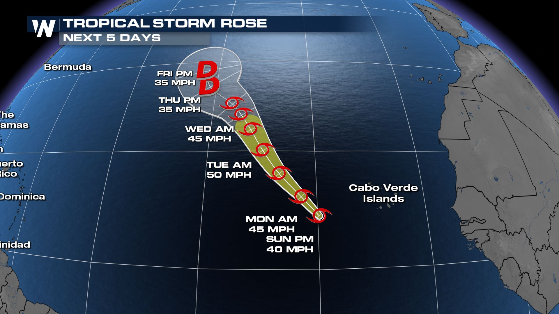 Tropical Storm Rose Forms in the Atlantic