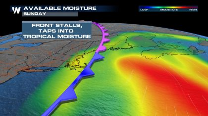 Tropically Charged Rainfall Expected in New England this Weekend