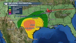 Severe Weather Outlook: Large Hail & Damaging Winds Likely  –Possible Tornadoes