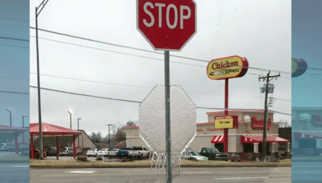Mustang Oklahoma Photo Shows Ice Melting in Shape of Speed Sign