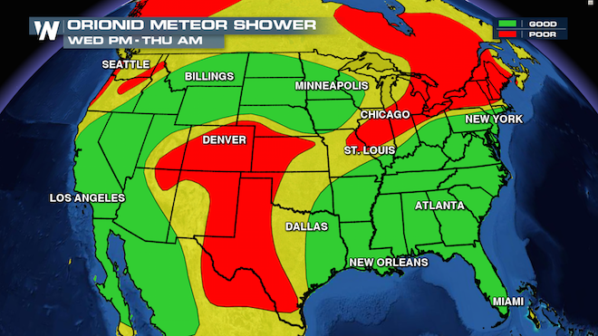 Orionid Meteor Shower Viewing Map