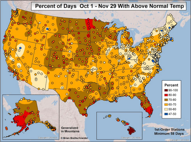 Percent of Days Above Normal