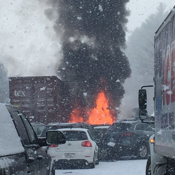 Snow Squall Causes Massive Pileup in New Hampshire