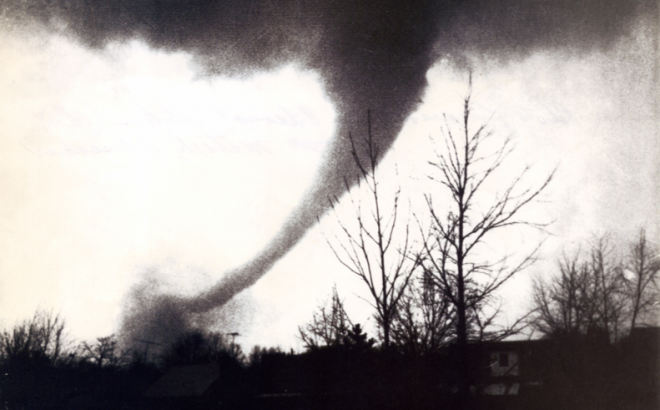 (A view of the Sayler Park tornado as it moved through the Bridgetown area. Photo taken by Frank Altenau.)
