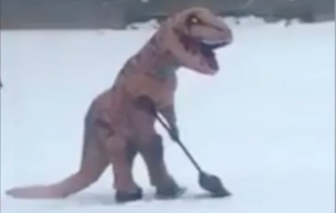 SnowRex! What Does a Dinosaur Look Like Shoveling Snow?