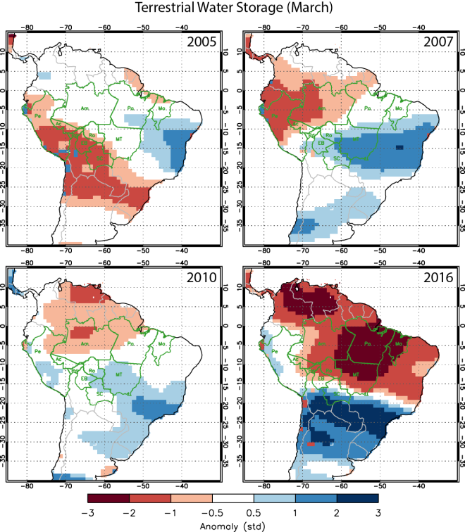 (Image: An analysis of data from the Gravity Recovery and Climate Experiment (GRACE) satellite mission shows greater soil water deficits in 2016 than previous drought years with high Amazon fire activity. Credits: Yang Chen, University of California, Irvine)