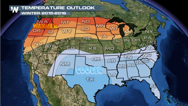 A Warmer Winter Outlook For WeatherNation - Us winter forecast map