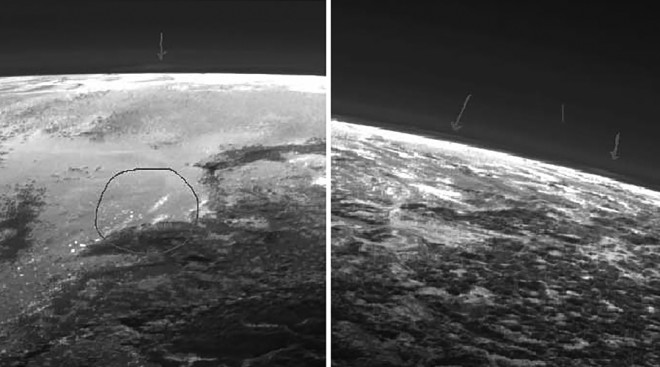 (Image: Alleged clouds in Pluto's atmosphere imaged by New Horizons, highlighted by a Southwest Research Institute scientist -NASA/JHUAPL/SwRI)