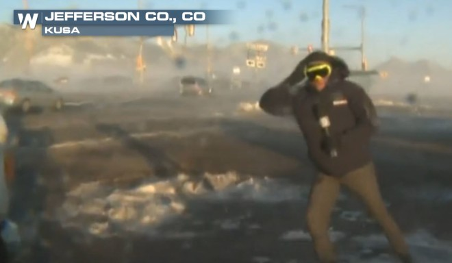 Reporter Slammed by High Winds In Colorado