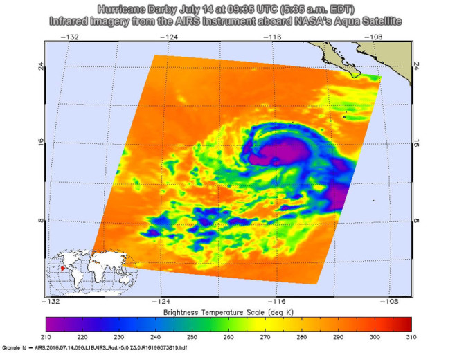 (On July 14 at 09:35 UTC (5:35 a.m. EDT) the Atmospheric Infrared Sounder or AIRS instrument aboard NASA's Aqua satellite showed that Darby showed strong convection and coldest cloud top temperatures were south and southwest of the center. Credits: NASA JPL, Ed Olsen)