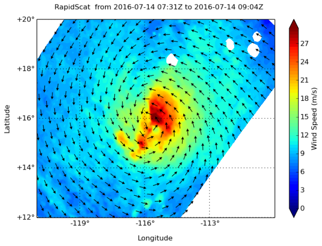 (Image: NASA's RapidScat instrument measured the surface winds around Hurricane Darby on July 14 between 0731 to 0904 UTC and found the strongest winds east of the center of circulation near 30 meters per second (67 mph/108 kph).Credits: NASA JPL/Doug Tyler)