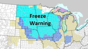 First Freeze of the Season Hitting the Upper Midwest