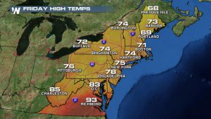 East Coast Cool Down on the Way