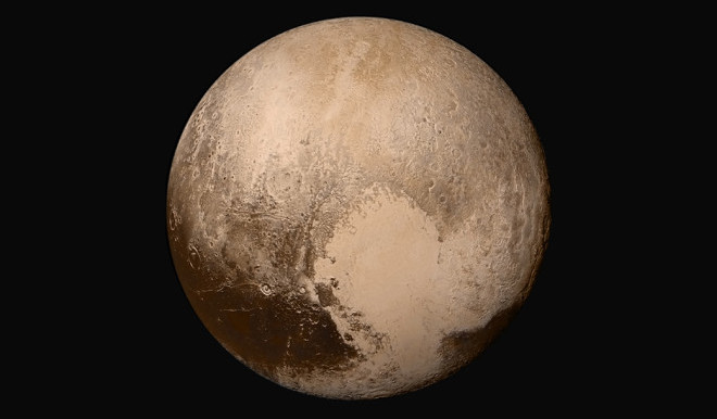 (New Horizons collected data on the space environment nearly continuously from early 2012 through its flyby of Pluto, shown here in an image mosaic from the spacecraft, on July 14, 2015, shedding new light on space in a relatively unexplored part of the solar system. Credits: NASA/JHUAPL/SwRI)
