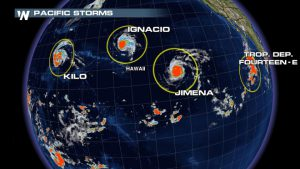 Rare Event: 4 Tropical Systems in the Pacific – Hawaii in the Middle