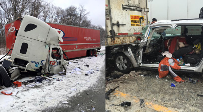 IMAGES: Lethal Pileup Shuts Down I-90 in Ohio