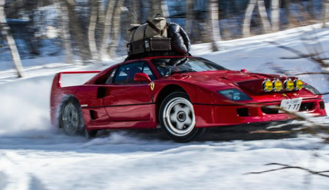 VIDEO: Chairlift Broke? This Guy Drives His Ferrari F40 up the Slopes
