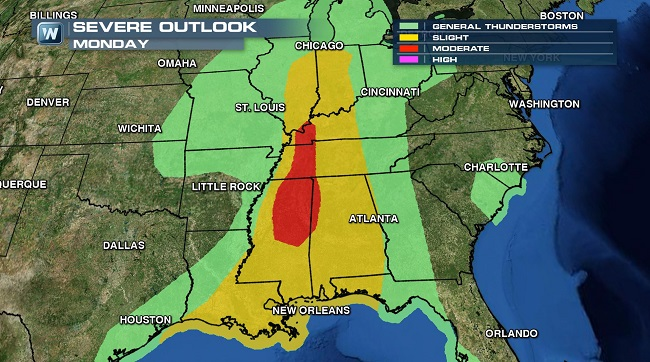 SEVERE WEATHER ALERT: Hail, High Winds and a Few Tornadoes Possible Monday