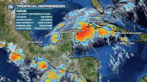 Tropical Depression Nine Forms in the Gulf of Mexico, Slowly Moves Toward Landfall